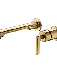 cheap -Concealed Brushed Gold Basin Faucet Traditional Style Wall-Mounted Single Handle Two Installation Hole Conjoined Design Bathroom Sink Hot And Cold Water Mixer for Washbasin