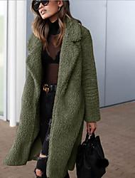 cheap -Women's Daily Fall & Winter Regular Faux Fur Coat, Solid Colored Turndown Long Sleeve Faux Fur Black / Army Green / Camel