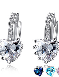 cheap -Women's AAA Cubic Zirconia Earrings Classic Heart Stylish Artistic Luxury Trendy Korean Platinum Plated Gold Plated Earrings Jewelry Silver / Blue / Pink For Christmas Gift Daily Work Festival 1 Pair