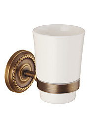 cheap -Toothbrush Holder Creative Antique / Traditional Brass / Ceramic Bathroom Wall Mounted