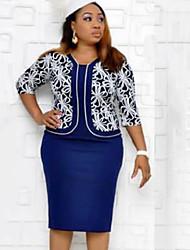 cheap -Women's Elegant Two Piece Dress - Geometric Blue L XL XXL XXXL