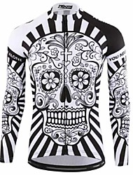 cheap -21Grams Sugar Skull Men's Long Sleeve Cycling Jersey - Black / White Bike Jersey Top Thermal / Warm UV Resistant Breathable Sports Winter 100% Polyester Mountain Bike MTB Road Bike Cycling Clothing