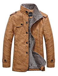 cheap -Men's Daily / Going out Fall / Winter Regular Leather Jacket, Solid Colored Turndown Long Sleeve PU Dark Gray / Khaki