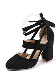 cheap -Women's Heels Lace up Chunky Heel Round Toe Suede Summer Yellow / Pink / Black / Daily