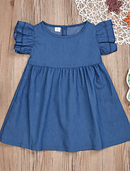 cheap -Baby Girls' Active Basic Print Pleated Sleeveless Knee-length Dress Blue