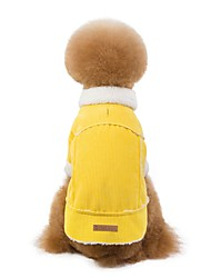 cheap -Dogs Coat Puffer / Down Jacket Winter Dog Clothes Yellow Green Blue Costume Dalmatian Shiba Inu Pug Corduroy Solid Colored Simple Style S M L XL XXL