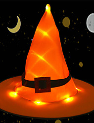 cheap -LED Halloween Hat Staycation Decoration Outdoor Hanging Lighted Glowing Witch Hat Lights String Kids Cosplay Costume Accessories