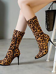 cheap -Women's Boots Print Shoes Stiletto Heel Pointed Toe Suede / PU Mid-Calf Boots Casual / Minimalism Spring &  Fall / Fall & Winter Black / Leopard / White