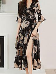 cheap -Women's Date Boho Sheath Dress - Geometric Print V Neck Black S M L XL