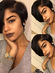 cheap -Remy Human Hair 4x13 Closure Lace Front Wig Bob Side Part style Brazilian Hair Straight Black Wig 130% Density Women Best Quality New New Arrival Hot Sale Women's Short Human Hair Lace Wig Human Hair