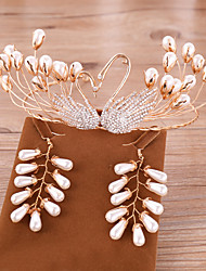 cheap -Women's Clear Pearl Head Jewelry Hoop Earrings Crown Fashion Pearl Earrings Jewelry Gold For Wedding Party Engagement 1 set