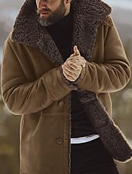Недорогие -Муж. Повседневные Классический Наступила зима Обычная Пальто, Однотонный Воротник-стойка Длинный рукав Полиэстер Черный / Военно-зеленный / Коричневый