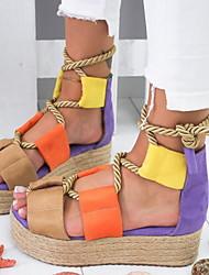 cheap -Women's Sandals Flat Heel Round Toe PU Summer Brown / Purple / Yellow