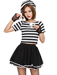 cheap -Prisoner Halloween Props Adults Women's Halloween Halloween Festival / Holiday Knitting Black Women's Carnival Costumes / Top / Gloves / Hat / Skirts