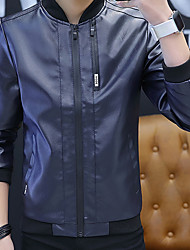 cheap -Men's Daily / Work Winter Regular Leather Jacket, Solid Colored Stand Long Sleeve PU Black / Yellow / Blue