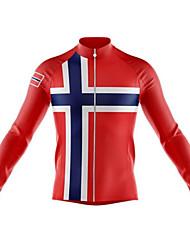 abordables -21Grams Norway Drapeau National Homme Manches Longues Maillot Velo Cyclisme - Noir / Rouge Vélo Maillot Hauts / Top Chaud Résistant aux UV Respirable Des sports Hiver Toison 100 % Polyester VTT Vélo
