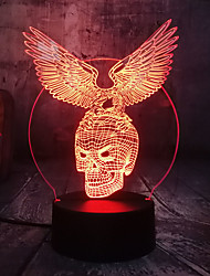 cheap -Night Light Acrylic Panel Skull Wings Halloween Gift 3D Night Lamp 7 Color Changing Led Night Light Bedroom Table Lamp Atmosphere Lights 1pc