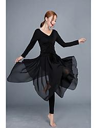 abordables -Danse latine Tenue Femme Entraînement / Utilisation Modal Ruché / Elastique Manches Longues Taille haute Haut / Pantalon
