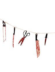 cheap -12pcs Blood Knife Rope Tools Horok Tool Sets Spooky Pendant Knife Garland Banner Chamber of Secrets Haunted House Bar Decoration