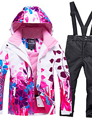 cheap -Boys' Girls' Ski Jacket with Pants Winter Sports Windproof Warm Skiing POLY Chinlon Clothing Suit Ski Wear / Floral Botanical