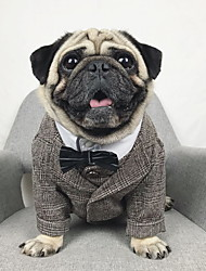 cheap -Dogs Coat Jacket Dog Clothes Black Coffee Costume Polyster Plaid / Check Wedding XS S M L XL XXL