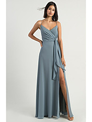 cheap -A-Line Spaghetti Strap Floor Length Chiffon Bridesmaid Dress with Split Front / Open Back