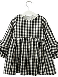 cheap -Kids Girls' Check Dress Black