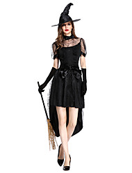 cheap -Witch Cosplay Costume Outfits Adults' Women's Cosplay Halloween Halloween Festival / Holiday Polyster Black Women's Carnival Costumes / Dress / Gloves / Belt / Hat