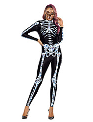 cheap -Skeleton / Skull Zentai Suits Cosplay Costume Adults' Women's One Piece Halloween Halloween Festival / Holiday Polyster White / Pale Blue Women's Carnival Costumes / Leotard / Onesie