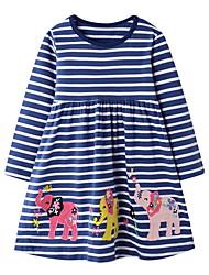 cheap -Kids Girls' Cute Striped Animal Dress Blue