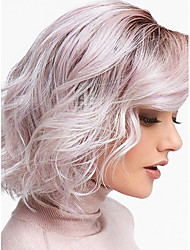 cheap -Synthetic Wig Water Wave Bob Wig Ombre Short Black / Pink Synthetic Hair 12inch Women's Odor Free Adjustable Heat Resistant Ombre / Ombre Hair