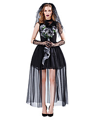 cheap -Ghostly Bride Dress Cosplay Costume Outfits Party Costume Adults' Women's Cosplay Halloween Halloween Festival / Holiday Tulle Polyster Black Women's Carnival Costumes / Headpiece / Gloves