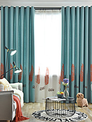abordables -coton de chanvre de style européen deux panneaux feuilles rideaux brodés salon chambre salle à manger rideaux de la chambre des enfants