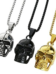 cheap -Men's Pendant Necklace Necklace Classic Skull Vintage Ethnic Fashion Boho Chrome Black Gold Silver 65 cm Necklace Jewelry 1pc For Daily