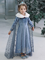 cheap -Kids Toddler Girls' Active Sweet Solid Colored Halloween Long Sleeve Maxi Dress Blue