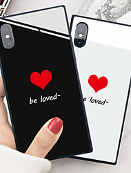 cheap -Apple Applicable to X Love 6/7/8 Ultra-thin Square Glass 6 Plus/7 Plus/8 Plus Rear Half Pack Drop-proof Phone Case