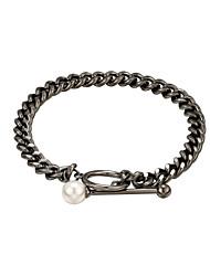 cheap -Women's Freshwater Pearl Chain Bracelet Single Strand Inspire Punk Trendy Gothic Copper Bracelet Jewelry Black / Gold For Gift Street Promise