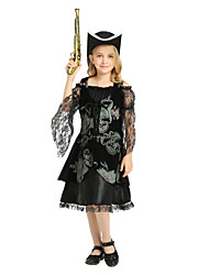 cheap -Pirate Cosplay Costume Outfits Masquerade Kid's Girls' Cosplay Halloween Halloween Festival / Holiday Polyster Black Carnival Costumes / Dress / Hat