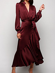 cheap -A-Line Mother of the Bride Dress Plus Size V Neck Ankle Length Satin Long Sleeve with Sash / Ribbon Ruching 2020