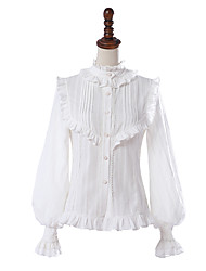 cheap -Artistic / Retro Casual Lolita Elegant Blouse / Shirt Girls' Female Chiffon Japanese Cosplay Costumes White Other Lace Fashion Bishop Sleeve Long Sleeve Medium Length