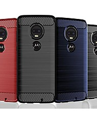 cheap -Case For Motorola MOTO One Vision / Moto G6 Play / Moto G6 Plus Shockproof / Ultra-thin Back Cover Solid Colored / Lines / Waves TPU / Carbon Fiber Case For  Moto P30 Note / Moto P40 / Moto G7 Plus