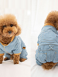 cheap -Dogs Jumpsuit Fleece Coat Winter Dog Clothes Blue Costume Shiba Inu Pug Bichon Frise Cotton / Linen Blend Denim Simple Solid Colored Cowboy Euramerican XS S M L XL XXL