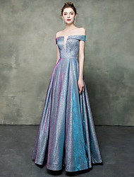 cheap -A-Line Off Shoulder Floor Length Satin / Sequined Sparkle & Shine Prom Dress with Sequin 2020