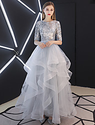 cheap -Ball Gown Jewel Neck Floor Length Tulle / Sequined Elegant & Luxurious / Sparkle & Shine Prom Dress 2020 with Tier / Cascading Ruffles