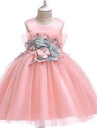 cheap -Princess Knee Length Party / Pageant Flower Girl Dresses - Polyester / Tulle Sleeveless Jewel Neck with Appliques