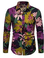 cheap -Men's Holiday Work Rock / Punk & Gothic Shirt - Floral / Plaid / Paisley Purple