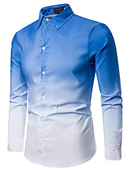 cheap -Men's Party Basic Shirt - Color Block Blue & White, Patchwork Blue