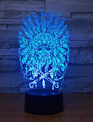 cheap -3D Lamp Indian Chief 7 Color Led Night Lamps for Children Table Usb Led Touch Night Light for Sleeping Baby Decoration