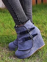 cheap -Women's Boots Hidden Heel Round Toe PU Mid-Calf Boots Winter Black / Gray / Khaki