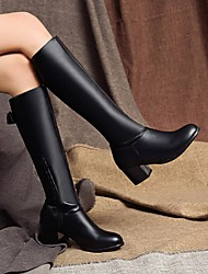 cheap -Women's Boots Block Heel Round Toe Bowknot PU Mid-Calf Boots Preppy / Minimalism Spring &  Fall / Fall & Winter Black / Brown / White